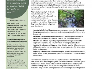 Upcoming Training – May 7, 2014 – Getting the Ecosystem Services You Pay For