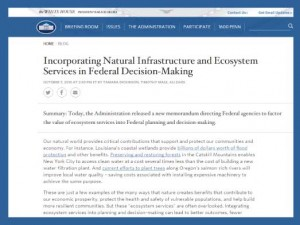 White House Issues Guidance for Federal Agencies to Incorporate Ecosystem Services into Decision-Making
