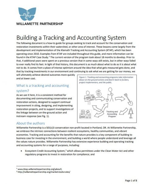 building a tracking and accounting program cover willamette partnership