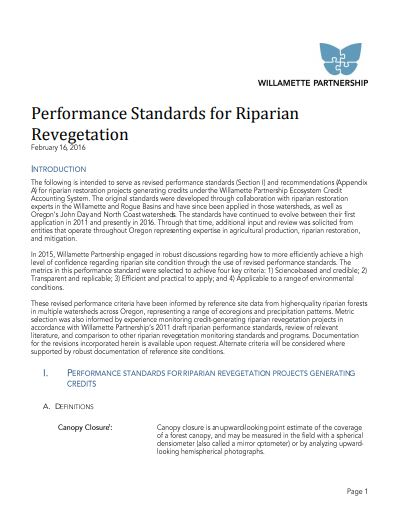 performance standards for riparian revegetation