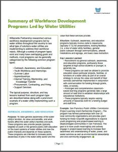Water Utility Workforce Development Program Summary