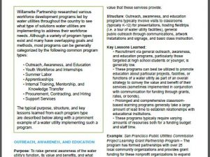 Summary of Workforce Development Programs Led by Water Utilities