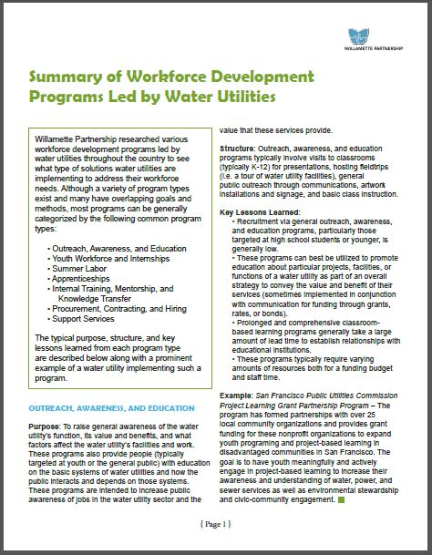 Water Utility Workforce Development Program Summary