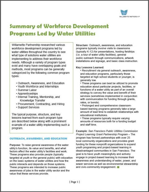 Summary of Workforce Development Programs for Water Utilities pdf cover