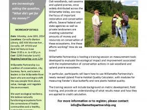 Willamette Partnership's 2014 Prairie and Oak Training Workshop