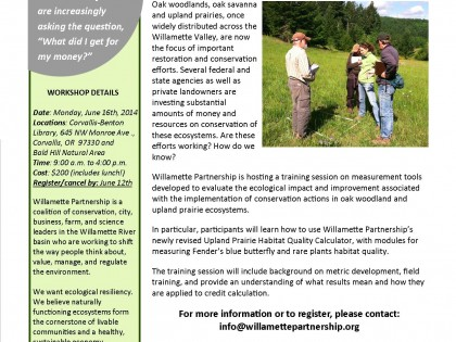 Willamette Partnership's 2014 Prairie and Oak Training Workshop
