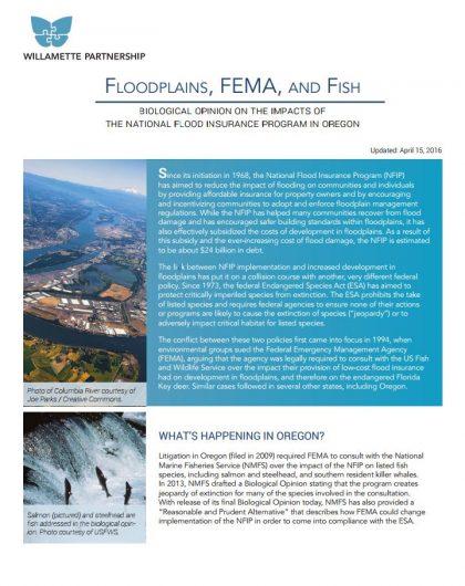 Fact Sheet: Floodplains, FEMA, Fish