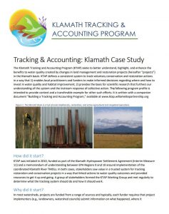 klamath tracking and accounting case study