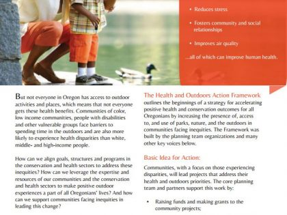Handout: Oregon Action Framework for Health and the Outdoors