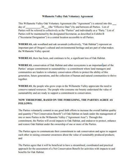 Oak Accord Agreement