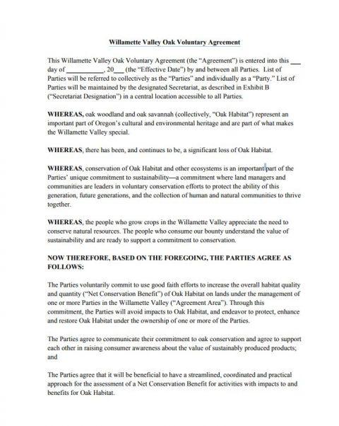 willamette valley oak accord voluntary agreement