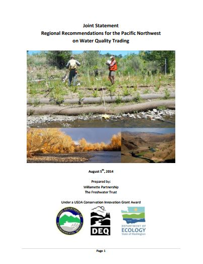 joint statement regional recommendations water quality trading in the pacific northwest on cover
