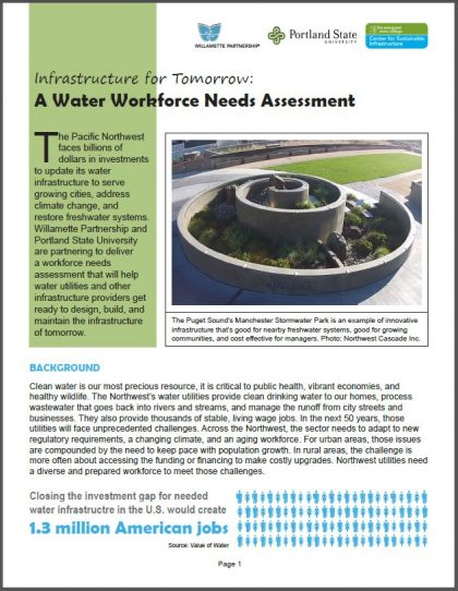 Water Workforce Needs Assessment Handout