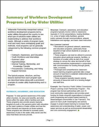 Summary of Workforce Development Programs Led by Water Utilities