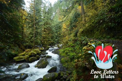 Columbia Gorge with love letter logo