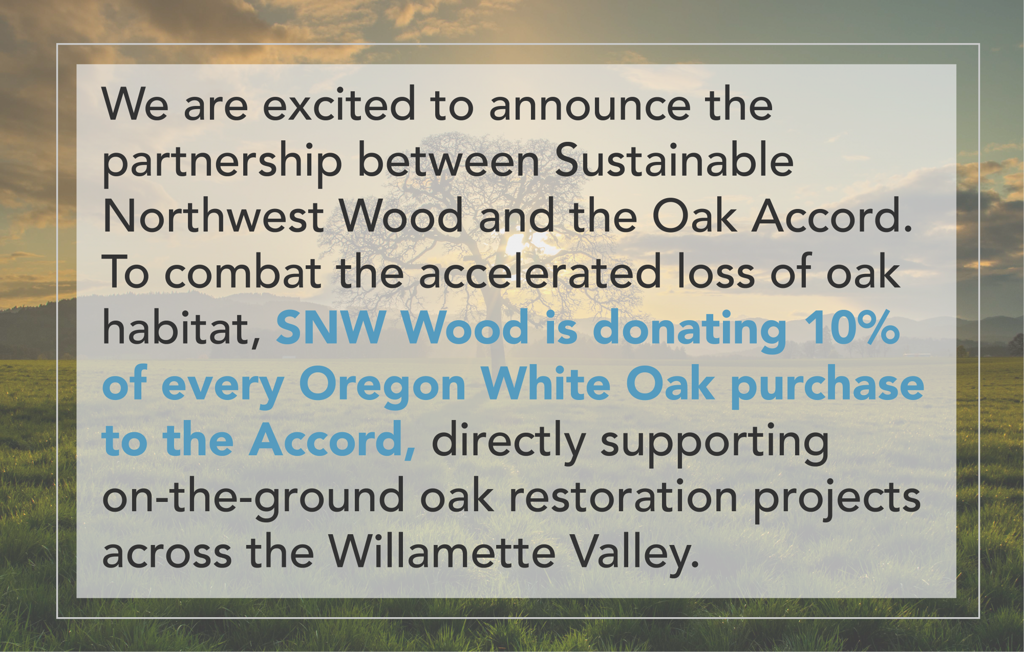 Sustainable Northwest Wood and OA